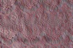Взгляд сверху розовой кружевной ткани стоковые изображения rf