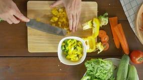 Взгляд сверху салата женщины главного делая здоровые еда и болгарский перец прерывать на разделочной доске в кухне акции видеоматериалы