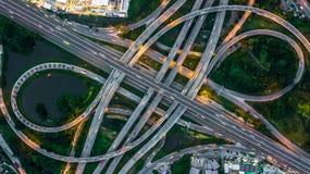 Взгляд сверху скоростной дороги Бангкока, взгляд сверху над шоссе, expresswa Стоковые Изображения