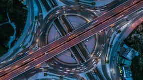 Взгляд сверху скоростной дороги, взгляд сверху над шоссе, скоростная дорога и m Стоковая Фотография RF