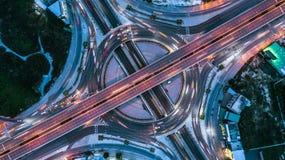 Взгляд сверху скоростной дороги, взгляд сверху над шоссе, скоростная дорога и m Стоковое Изображение