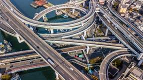 Взгляд сверху скоростной дороги Осака, взгляд сверху над шоссе, скоростная дорога Стоковое фото RF
