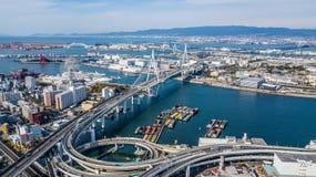 Взгляд сверху скоростной дороги Осака, взгляд сверху над шоссе, скоростная дорога Стоковое Фото