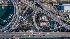 Взгляд сверху скоростной дороги Осака, взгляд сверху над шоссе, скоростная дорога Стоковая Фотография RF