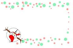 Взгляд сверху снеговика с красным цветом и зеленым цветом striped колеса, изолированные на белой предпосылке - Vector иллюстрация Стоковые Изображения RF