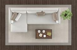 Взгляд сверху современной живущей комнаты бесплатная иллюстрация