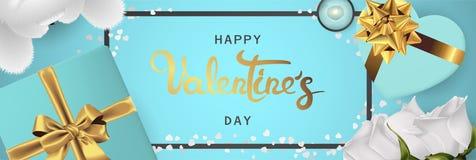 Взгляд сверху счастливого знамени дня Святого Валентина реалистического горизонтального плоский положенный иллюстрация вектора