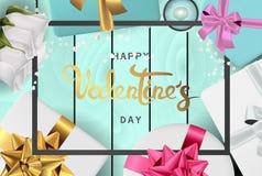 Взгляд сверху счастливого знамени дня Святого Валентина реалистического плоский положенный бесплатная иллюстрация