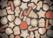Взгляд сверху с Рождеством Христовым дизайна концепции Печенья праздника на деревянной предпосылке бесплатная иллюстрация