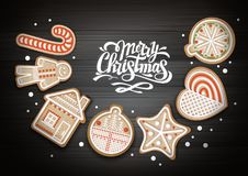 Взгляд сверху с Рождеством Христовым дизайна концепции Печенья праздника на деревянной предпосылке иллюстрация вектора