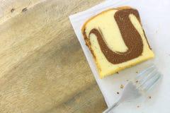 Взгляд сверху торта масла шоколада хлебопекарни мраморного Стоковые Фото