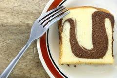 Взгляд сверху торта масла шоколада хлебопекарни мраморного Стоковые Изображения