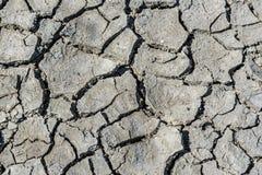 Взгляд сверху треснутой засухой текстуры почвы Сухая текстура предпосылки грязи глобальное потепление Стоковая Фотография RF