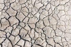 Взгляд сверху треснутой засухой текстуры почвы Сухая текстура предпосылки грязи глобальное потепление Стоковые Изображения RF