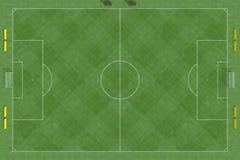 взгляд сверху футбола поля стоковое изображение