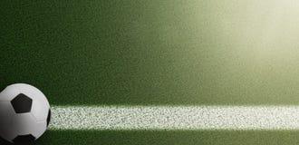 Взгляд сверху футбольного мяча на боковой линии на футбольном поле травы Стоковые Изображения RF