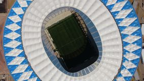 Взгляд сверху футбольного стадиона в Волгограде сток-видео