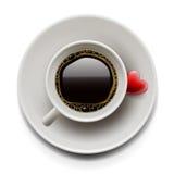 Взгляд сверху чашки кофе. День Валентайн Стоковые Фото
