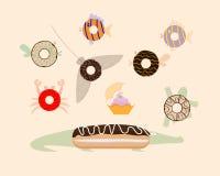 Взгляд сверху Donuts Жителя моря также вектор иллюстрации притяжки corel иллюстрация вектора