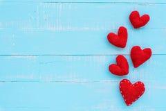 Взгляд сверху handmade розового и красного сердца Стоковые Фотографии RF