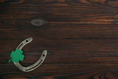 взгляд сверху horseshoe и зеленого shamrock бесплатная иллюстрация