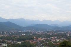 Взгляд сверху Luang Prabang от горы Phousi Стоковая Фотография RF