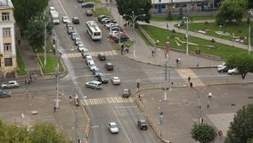Взгляд сверху Timelapse пересечений дороги города сток-видео