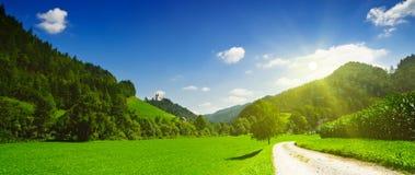 взгляд сельской местности идилличный панорамный Стоковые Изображения RF