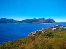Взгляд скал островов Cies, естественный рай в Галиции, s стоковые изображения rf