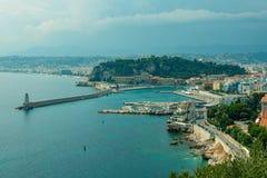 Взгляд славного, Средиземное море, Коут d Azur, Франция, южное Fran стоковое фото rf