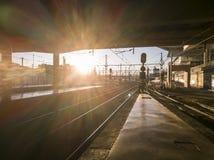 Взгляд следов поезда на станции Мадриде Atocha Стоковое Фото