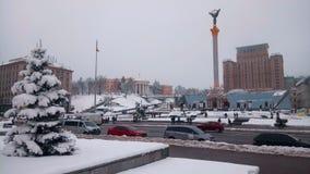 Взгляд снежной главной улицы в Киеве стоковое фото rf