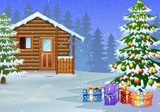 Взгляд снежных деревянных дома и украшения рождественской елки с подарком иллюстрация вектора