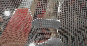 Взгляд снизу через сетку акробатов батута скача на батут Летание и сальто видеоматериал