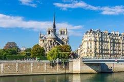 Взгляд собора Нотр-Дам и реки Сены стоковое фото rf