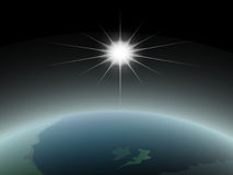 взгляд солнца космоса земли Стоковое Изображение
