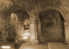 Взгляд состава камеры пещеры Uplistsikhe стоковые изображения