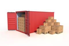 Взгляд со стороны грузового контейнера корабля с картонными коробками иллюстрация вектора