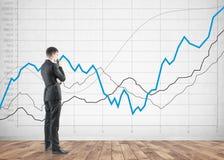 Взгляд со стороны заботливого бизнесмена, диаграммы Стоковая Фотография RF