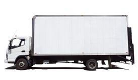 Взгляд со стороны изолированной белой тележки поставки Van Стоковое Изображение RF