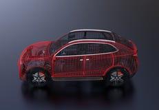 Взгляд со стороны металлической рамки провода электрического SUV на черной предпосылке бесплатная иллюстрация