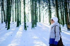 Взгляд со стороны милой молодой женщины outdoors на голубом небе и морозной предпосылке деревьев Стоковое Изображение RF