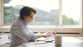 Взгляд со стороны пожилой коммерсантки работает с компьтер-книжкой в домашнем рабочем месте видеоматериал