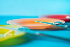 Взгляд со стороны покрашенных плит с селективным фокусом Стоковые Изображения RF