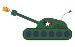 Взгляд со стороны ракеты стрельбы боевого танка войны, шарж иллюстрации вектора стоковое фото