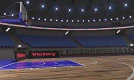 Взгляд со стороны стадиона баскетбола с светами 3D представляет иллюстрация вектора