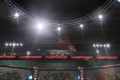 Взгляд со стороны этапа Muttahida Majlis-E-Amal воюя под светами Стоковое Изображение