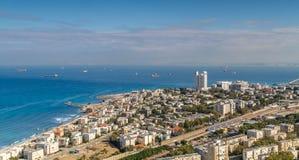 Взгляд Средиземного моря и Хайфы, Израиля Стоковая Фотография