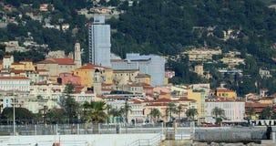 Взгляд старого городка Menton от крышки Мартин Roquebrune сток-видео