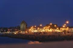 Взгляд старого городка Nesebar на ноче Стоковые Изображения